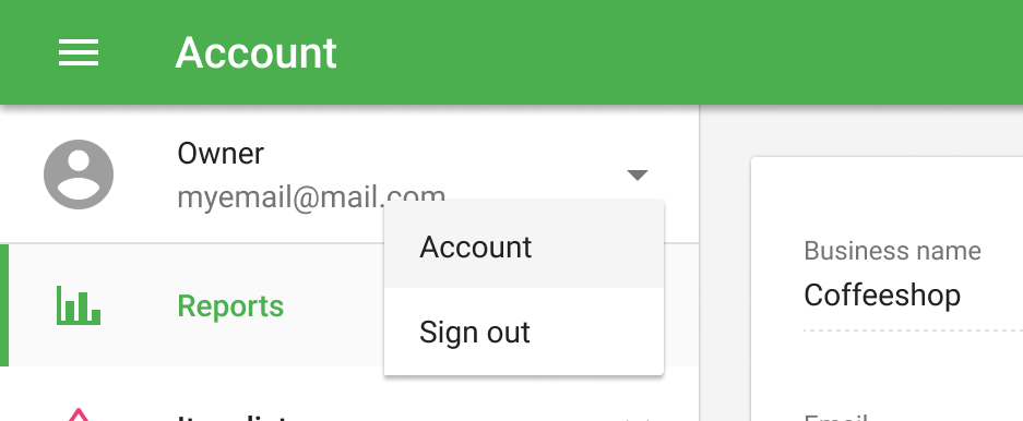 Account Settings in the Back office